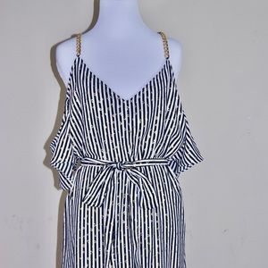 Michael Kors Chained Cold Shoulder Striped Dress